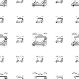 Seamless background for golf. Golf cart. Seamless monochrome pattern with contour golf cars and clouds on white background Stock Photography