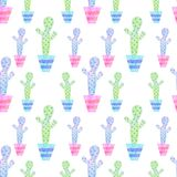 Seamless background of graphic drawings colorful cactus in pots Stock Image