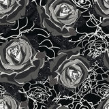 Seamless background. Gray roses. Gothic style. Royalty Free Stock Image
