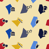 Seamless background with greece symbols Royalty Free Stock Image