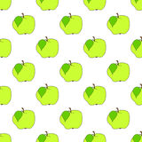 Seamless background green apple on white field. Vector illustration Royalty Free Stock Image