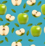 Seamless background with green apples Stock Photo