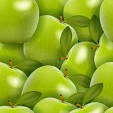 Seamless background with green apples Royalty Free Stock Images