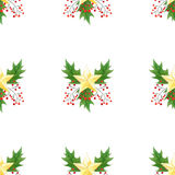 Seamless background with green Christmas holly branches,berries and golden stars.original watercolor hand drawn pattern Stock Photos
