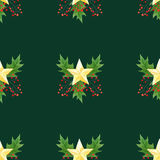 Seamless background with green Christmas holly branches,berries and golden stars.original watercolor hand drawn pattern Stock Images