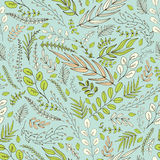Seamless background of green leaves in the folk style. Seamless background with spring green, rose and white leaves and brunches in the folk style Royalty Free Stock Images