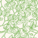 Seamless background with green leaves. Seamless natural background with green leaves painted by hand on a beige background vector illustration