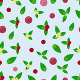 Seamless background with green leaves and red berries. Summer seamless background with green leaves and red berries Stock Image