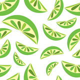 Seamless background with green lime slices. Tile fruit vector  Royalty Free Stock Images