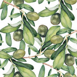 Seamless background with green olive branches. Watercolor seamless background with green olive branches. Original floral pattern with botanical elements vector illustration