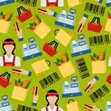 Seamless background of grocery shopping pattern Royalty Free Stock Photography