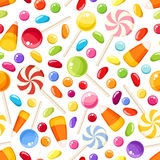 Seamless background with Halloween candies. Vector illustration. Stock Photography