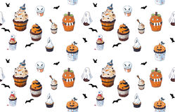 Seamless background with Halloween Cupcakes Stock Images