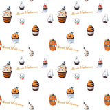 Seamless background with Halloween Cupcakes. Hand Drawn sketches vector illustration