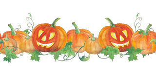 Seamless background with halloween pumpkins. Watercolor pattern. Royalty Free Stock Photo