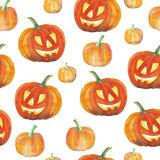 Seamless background with halloween pumpkins. Watercolor pattern. Stock Photo