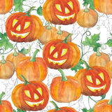 Seamless background with halloween pumpkins. Watercolor pattern. Stock Photos