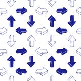 Seamless background of hand drawn arrows. Seamless background of hand drawn arrow icons turning clockwise, pen drawn effect Royalty Free Stock Photos