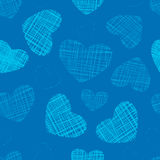 Seamless background with hand drawn blue Love hearts Royalty Free Stock Photo