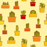 Seamless background with hand drawn cactus Royalty Free Stock Photography