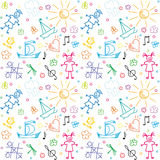 Seamless background with hand drawn children motives Royalty Free Stock Images