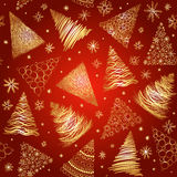 Seamless background with  hand-drawn Christmas trees and snowfla Royalty Free Stock Image