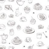 Seamless background Hand drawn coffee, tea, sweets pattern. Illustration delicious elements. Breakfast Food Drinks Cake. Seamless background Hand drawn coffee Stock Images