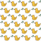 Seamless background with hand drawn ducks Stock Photo