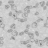 Seamless background with hand drawn finance icons. Vector illustration Royalty Free Stock Photo