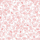 Seamless background with hand drawn finance icons. Vector illustration Royalty Free Stock Photos