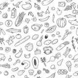 Seamless background with hand drawn food, black and white. Vector illustration, eps10. Royalty Free Stock Photography