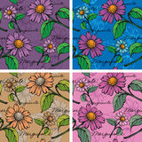Seamless Background with hand-drawn Marguerites Royalty Free Stock Image