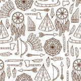 Seamless background with hand drawn objects on Royalty Free Stock Photography