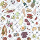 Seamless background Hand drawn Picnic pattern. Vector illustration sketchy romantic elements Summer Food Drinks Wine. Tablecloth in a cage Stock Photo