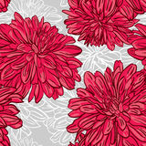 Seamless background with hand drawn red peonies flowers. Vector Stock Photo