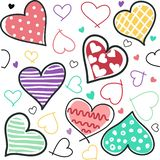 Seamless background of hand drawn stylized hearts. Postcard royalty free illustration