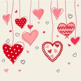 Seamless background of hand drawn stylized hearts. Postcard vector illustration