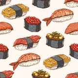 Seamless background with hand-drawn sushi Stock Photos
