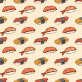 Seamless background with hand-drawn sushi Stock Images