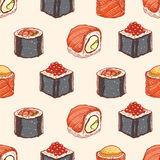 Seamless background with hand-drawn sushi. Seamless background with delicious variety of hand-drawn sushi Royalty Free Stock Image