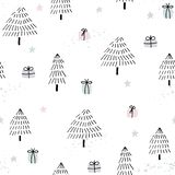 Seamless background with hand-drawn trees royalty free illustration