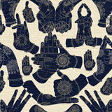 Seamless background with hand mudras on blue textured background Royalty Free Stock Photo