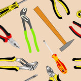 Seamless background of hand tools Stock Photos