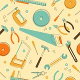 Seamless background with hand tools Stock Images