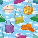 Seamless background, handbags and hats Stock Photography