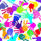 Seamless background of handprints and footprints Royalty Free Stock Images