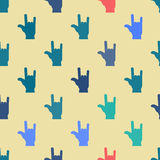 Seamless background with hands and finger icons Stock Photos