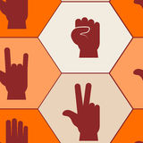 Seamless background with hands and finger icons Stock Image