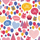 Seamless background - happy birthday. Heart, gift Royalty Free Stock Photography