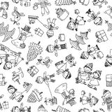 Pattern of the cheerful children in the christmastime. Seamless background of the happy cartoon kids in Christmas royalty free illustration